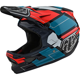 Troy Lee Designs D3 Fiberlite Kask rowerowy, vertigo blue/red